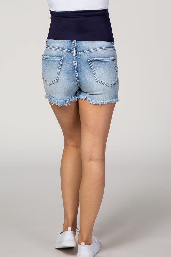 PinkBlush Light Wash Two Toned Frayed Hem Maternity Shorts