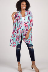Mint Green Floral Maternity Poncho Cover Up