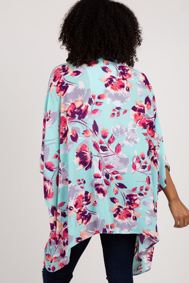 Mint Green Floral Poncho Cover Up