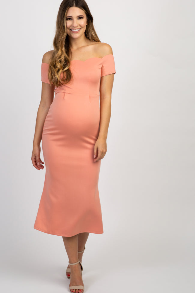 Peach Off Shoulder Scalloped Maternity Midi Dress