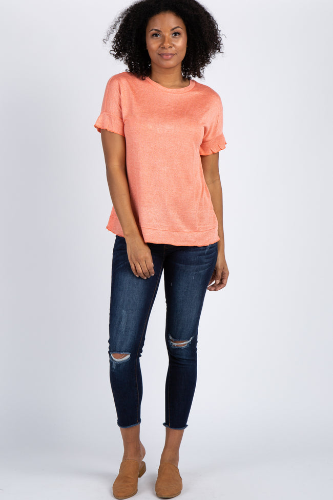 Coral Neon Ruffle Sleeve Knit Top