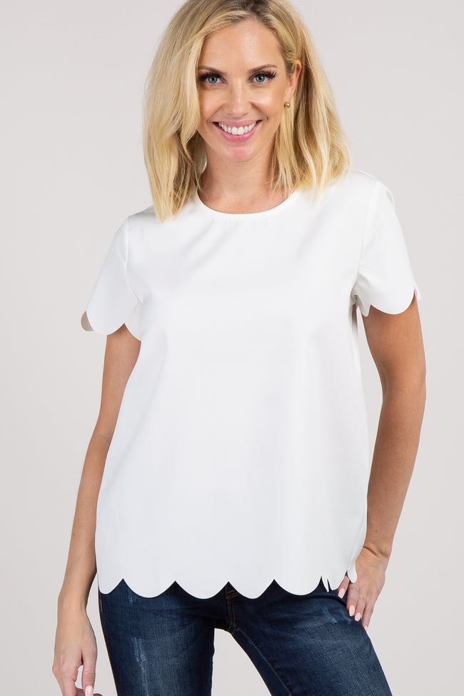 White Scalloped Short Sleeve Top
