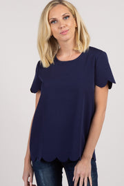 Navy Blue Scalloped Short Sleeve Top