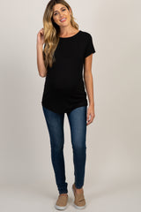Black Criss Cross Back Short Sleeve Maternity Top