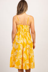 Yellow Leaf Print Button Down Midi Dress