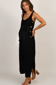 Black Button Side Sash Tie Maternity Midi Dress