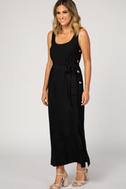 Black Button Side Sash Tie Midi Dress