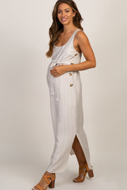 Taupe Button Side Sash Tie Maternity Midi Dress