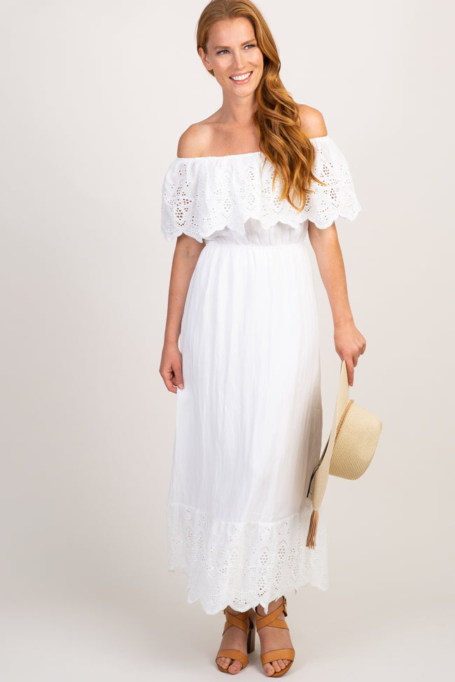 White Eyelet Off Shoulder Maternity Maxi Dress