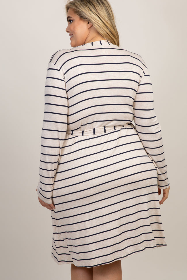Navy Blue Striped Delivery/Nursing Maternity Plus Robe