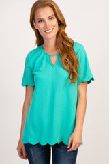 Jade Scalloped Trim Keyhole Cutout Top