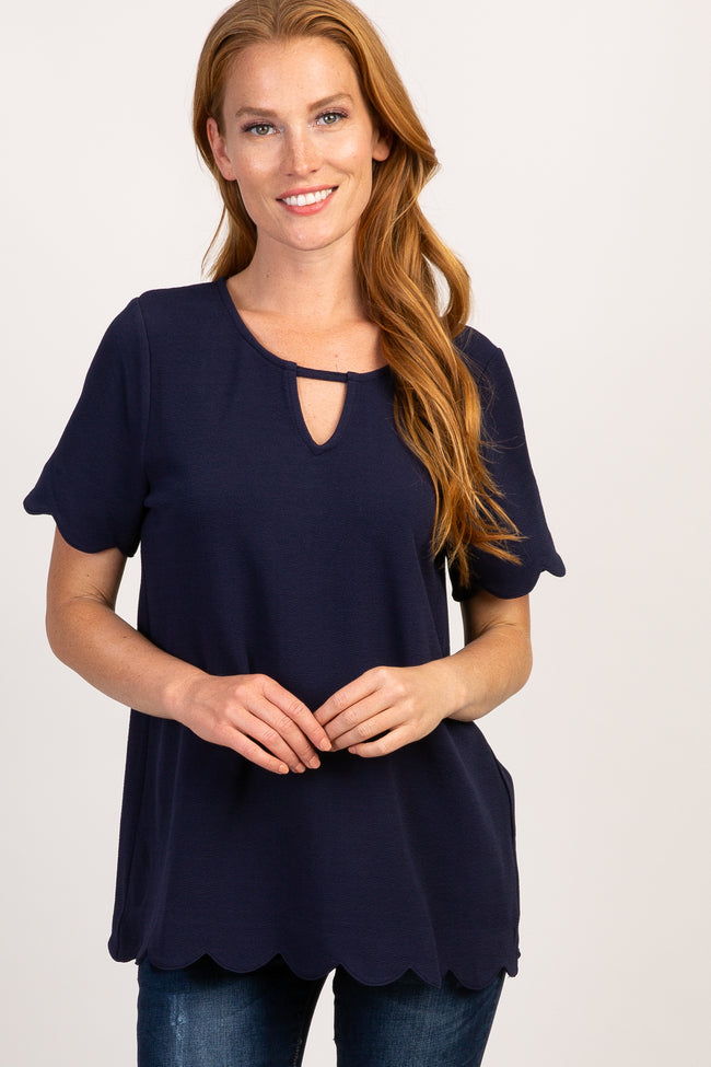 Navy Scalloped Trim Keyhole Cutout Top