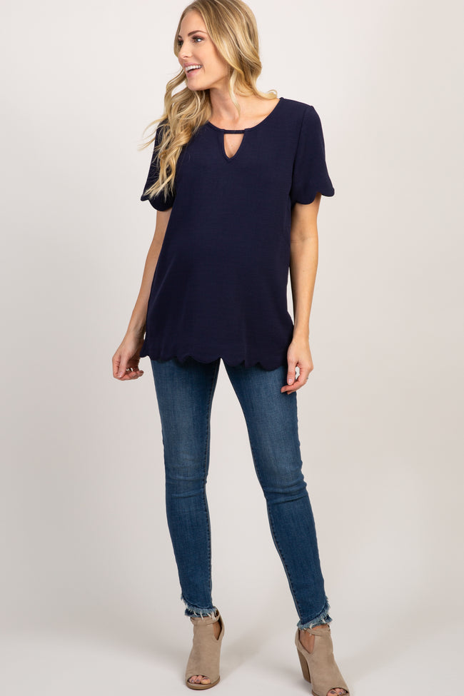 Navy Scalloped Trim Keyhole Cutout Maternity Top