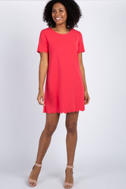 Coral Short Sleeve Scalloped Trim Maternity Dress