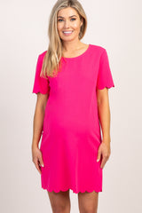 Fuchsia Short Sleeve Scalloped Trim Dress