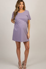 Lavender Short Sleeve Scalloped Trim Maternity Dress