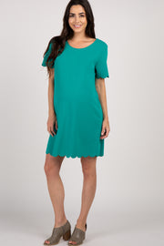 Emerald Short Sleeve Scalloped Trim Maternity Dress