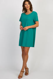Emerald Short Sleeve Scalloped Trim Dress