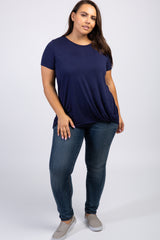 Navy Short Sleeve Knot Hem Plus Top