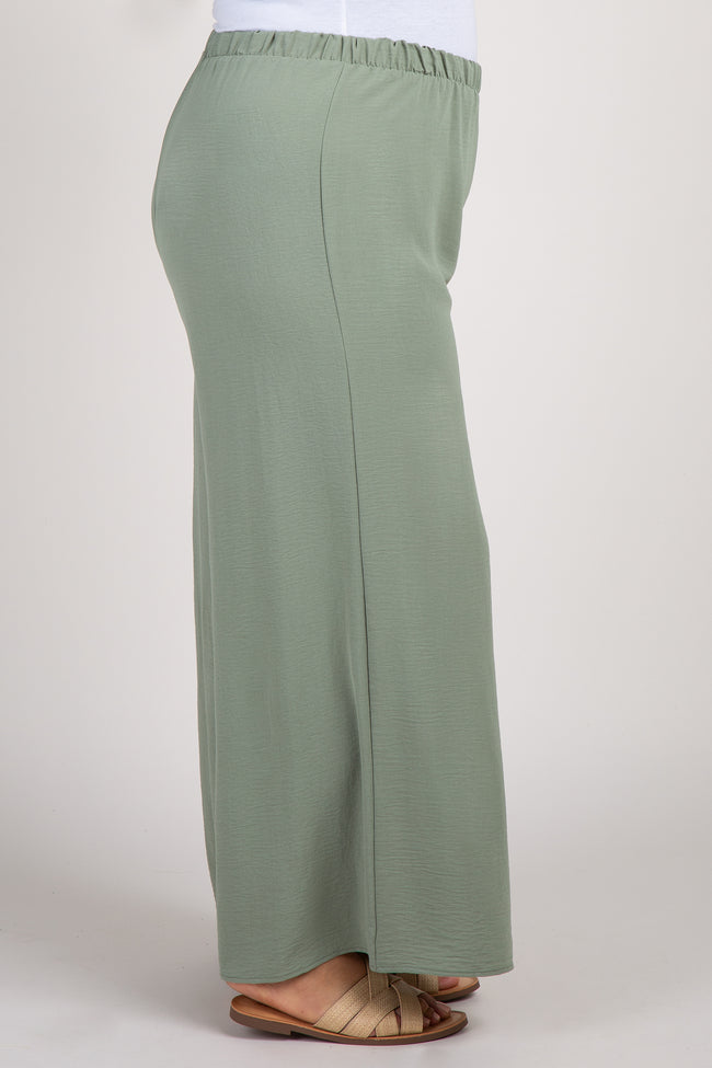 Olive Wide Leg Plus Pants