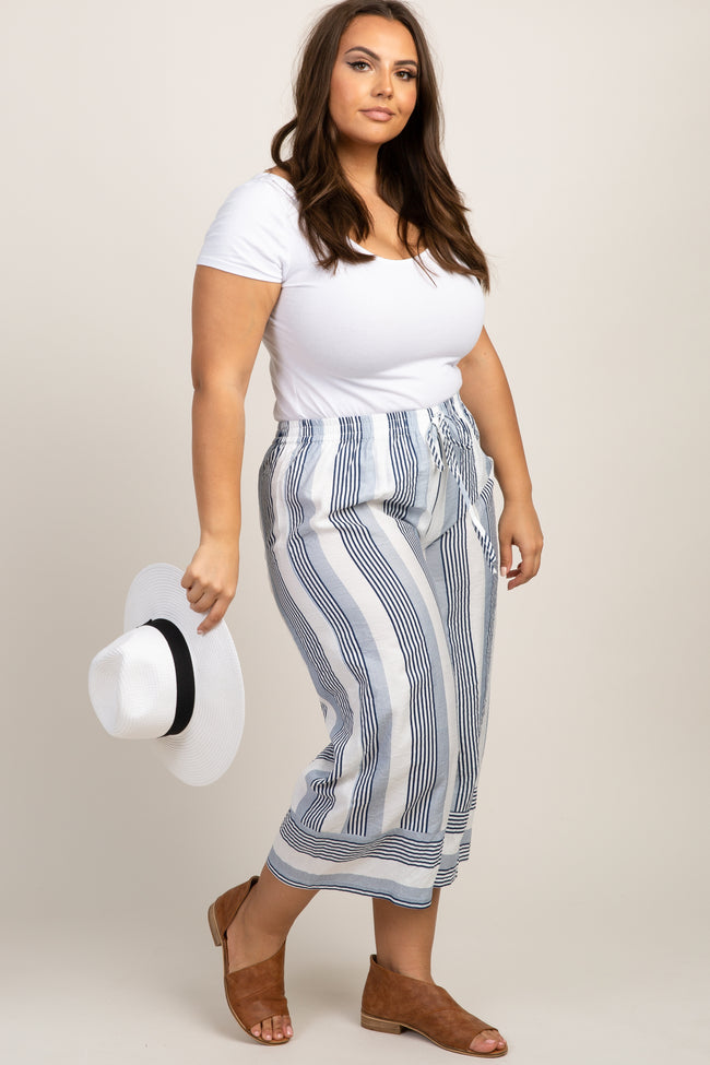 Navy Blue Striped Drawstring Maternity Plus Pants