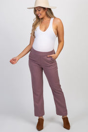 Mauve Pinstriped Maternity Pants
