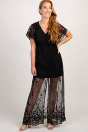 Black Lace Mesh Butterfly Sleeve Maxi Dress