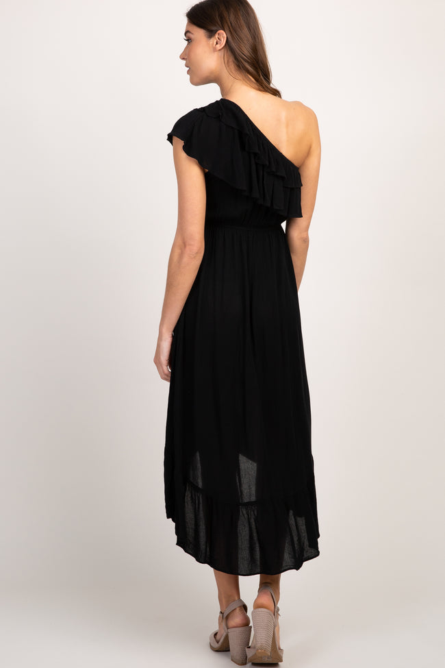 Black Solid Ruffle One Shoulder Hi-Low Dress