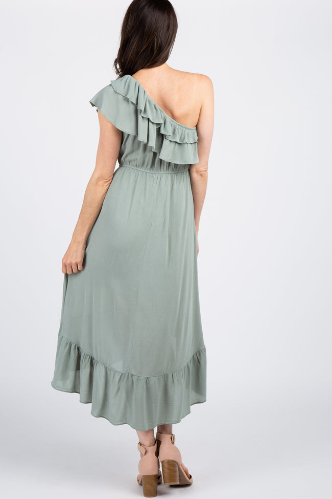 Mint Green Solid Ruffle One Shoulder Hi-Low Dress