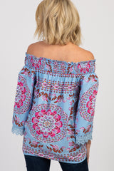 Blue Floral Crochet Lace Off Shoulder Top