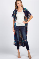 Navy Blue Floral Tassel Sleeve Long Cover Up