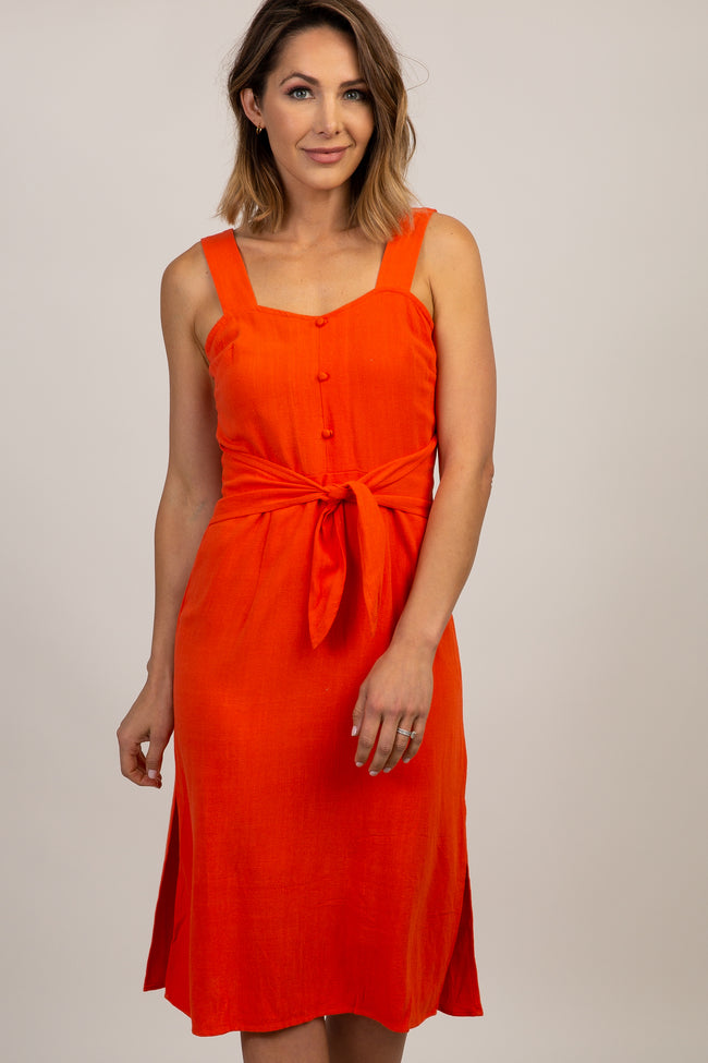 Red Orange Linen Button Tie Front Midi Dress