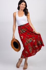 Red Floral Ruffle Trim Midi Skirt