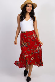 Red Floral Flounce Trim Maternity Skirt