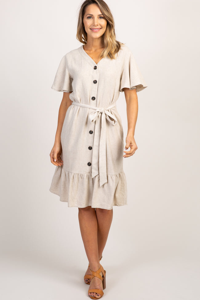 Beige Solid Ruffle Button Front Dress