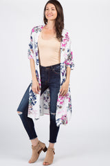 Ivory Floral Bell Sleeve Kimono