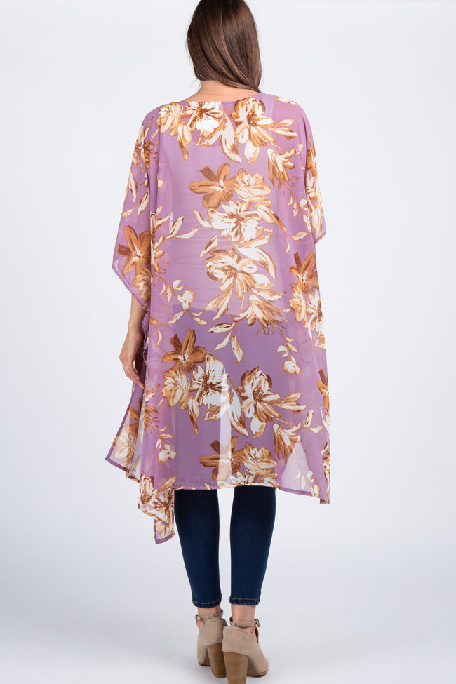 Lavender Floral Chiffon Draped Maternity Cover Up