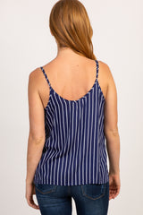 Navy Blue Striped Embroidered Cami Top