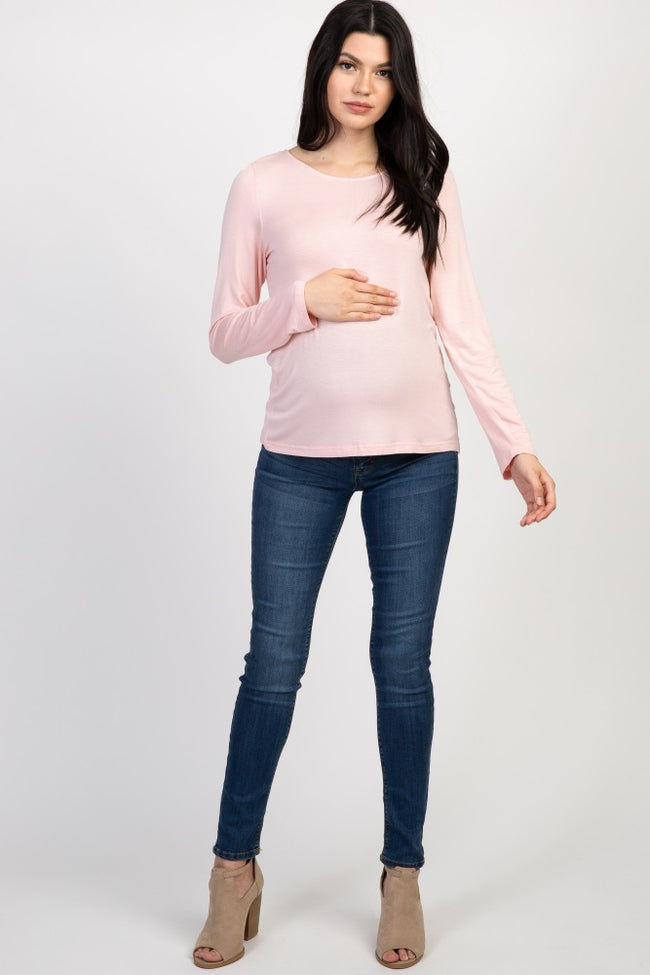 Light Pink Open Back Eyelash Lace Long Sleeve Maternity Top