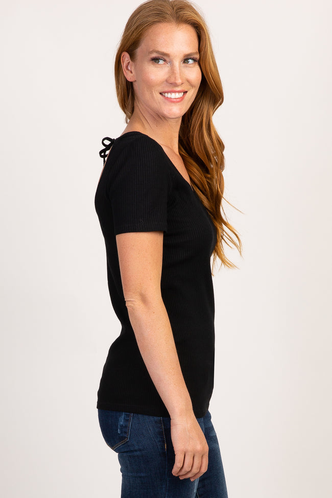 Black Ribbed Cutout Tie Back Top