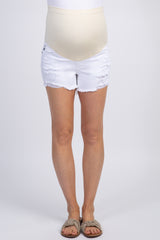 PinkBlush White Distressed Frayed Hem Maternity Jean Shorts
