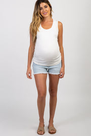 PinkBlush Light Blue Distressed Maternity Denim Shorts