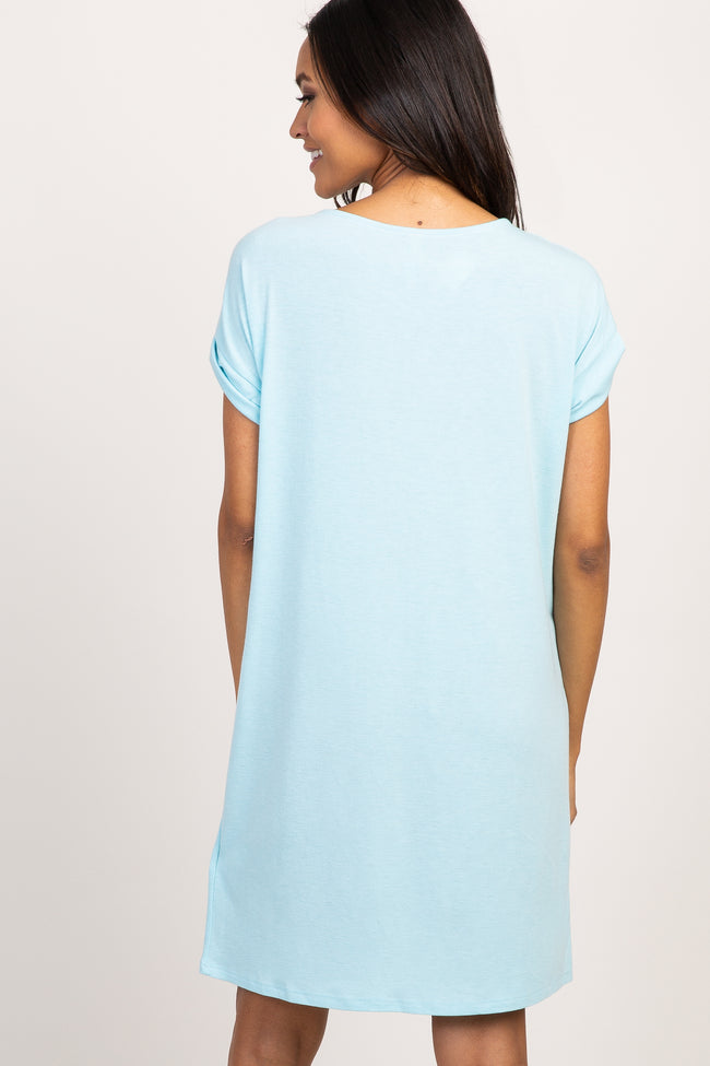 Light Blue Cuffed Sleeve Maternity T-Shirt Dress