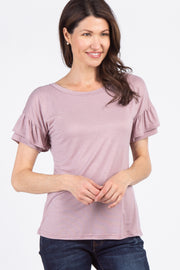 Mauve Ruffle Sleeve Cutout Back Top