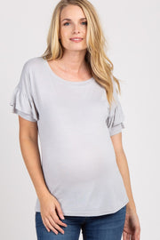 Grey Ruffle Sleeve Cutout Back Maternity Top