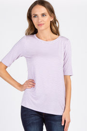 Lavender Striped Short Sleeve Top
