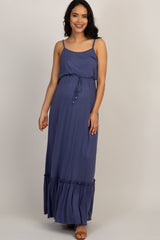 Periwinkle Ruffle Trim Cami Maternity Maxi Dress