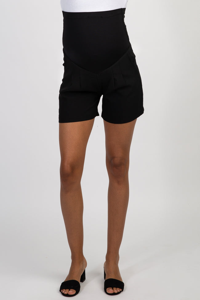 PinkBlush Black Solid Pleated Maternity Shorts