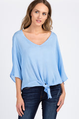 Light Blue Front Knot 3/4 Sleeve Top
