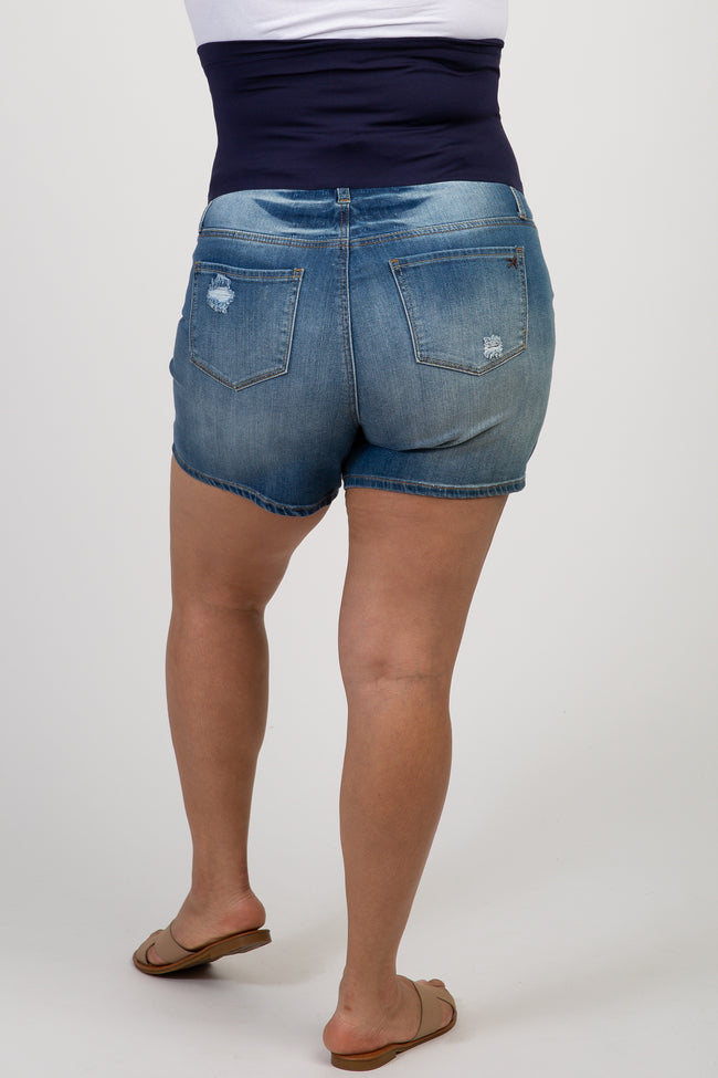 Blue Maternity Plus Denim Shorts